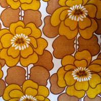 Big RETRO Mustard  Yellow Flowers 60s 70s Vintage Fabric Lampshade option