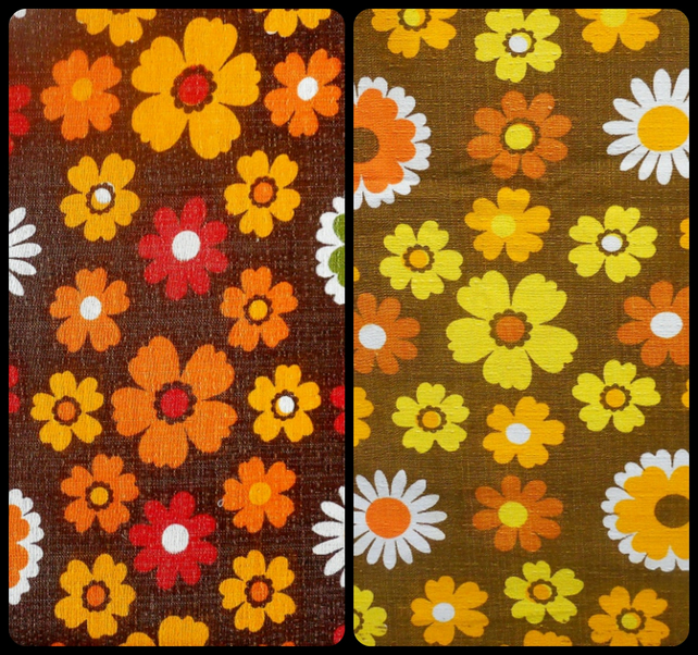 WOW ORANGE Daisy Floral VIntage 60s 70s Barkcloth Fabric Lampshade option