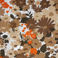 Brown and HINT of orange 70s floral Vintage Fabric Lampshade option