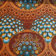 60s 70s Blue Daisies and Brown Lace Barkcloth Vintage Fabric Lampshade option