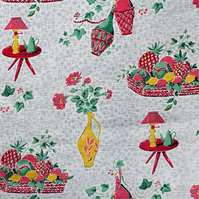 50s Kitsch Home Flower Vase Pictoral Barkcloth Vintage Fabric Lampshade option