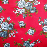 50s 60s Red Blue Rose GROSVENOR Bernard Wardle vintage fabric Lampshade option