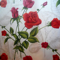 50s 60s BIG bunches of RED ROSES vintage fabric Lampshade option