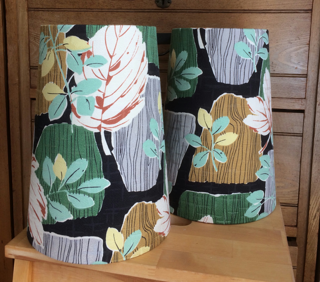 50s  Iconic MId Century Modern MCM LEAF VIntage Fabric Lampshade option