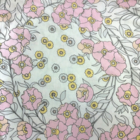 Pastel Yellow Grey and PInk Floral 60s 70s Vintage Fabric Lampshade option