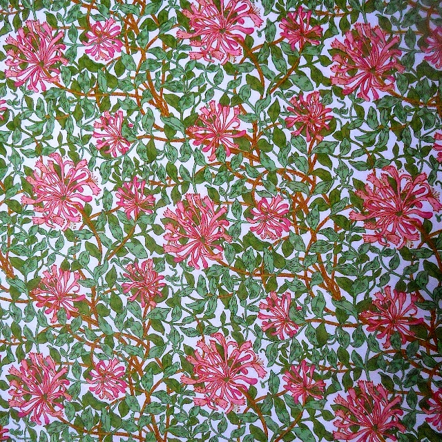 Cottage Honeysuckle by Sanderson pink and green Vintage Fabric Lampshade option