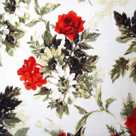 Grey Leaf and Red Rose 50s Barkcloth Vintage Fabric Lampshade option