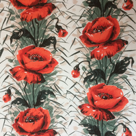 KENT Red Roses 50s Mid Century Modern Fothergay Vintage Fabric Lampshade option