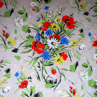Classic French Bright Floral Wildflower Linen Vintage Fabric Lampshade option