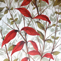 Classic Woodland and Red Leaf  50s 60s  Vintage Fabric Lampshade option