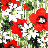 Crazy Daisy Poppy Bamboo Barkcloth 50s 60s Vintage Fabric Lampshade option