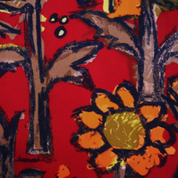 Childlike cartoon orange Daisies on Red 60s Vintage Fabric Lampshade option