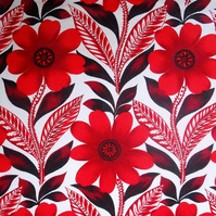 Bold RED Daisy MOD Barkcloth 60s  70s Vintage Fabric Lampshade option