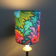Vibrant Rainbow of Exotic flowers 60s 70s  vintage fabric Lampshade option