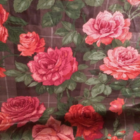 SUTHERLAND Pink roses on grey 80s Sandersons Vintage Fabric Lampshade option
