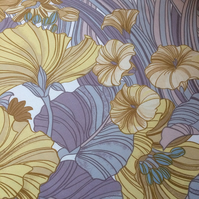 70s 'Corolla' Yellow Blue Grey Mauve Sanderson Vintage Fabric Lampshade option