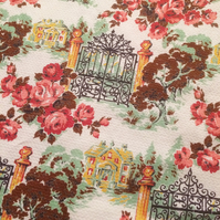 Roses Around the Garden Gates 50s 60s Barkcloth Vintage Fabric Lampshade option