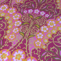 Ornate Pink Lime Orange Flower Arches 60s 70s Vintage Fabric Lampshade option