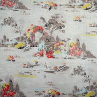 MCM 50s Pictorial Landscape Shades of grey Barkcloth  Fabric Lampshade option