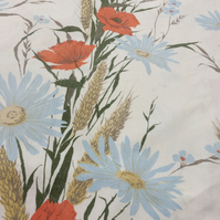 Meadow Red Poppy Blue Daisy Wheat 60s Vintage Fabric Lampshade option