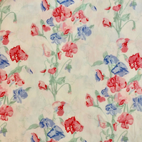 Pink Blue Cottage Sweetpeas a Laura Ashley 80s Vintage Fabric Lampshade option