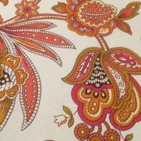 Funky 70s floral Orange and Pink Vintage Fabric Lampshade
