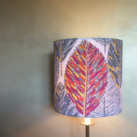 50s  Grey Abstract Leaf Barkcloth VIntage Fabric Lampshade option