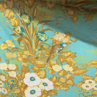 MANDARIN Bird Yellow and blue 60s 70s Jonelle vintage fabric Lampshade option