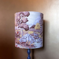 Country Landscape Deer STAG and Huntsman Barkcloth Vintage Fabric Lampshade