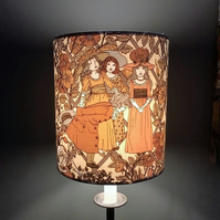 70s VIctorian Style SUGAR AND SPICE Vintage Fabric Lampshade option