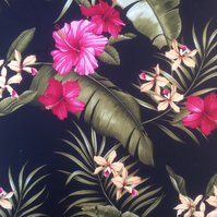Black Tiki Tropical Pink Floral Barkcloth  VIntage fabric Lampshade Option