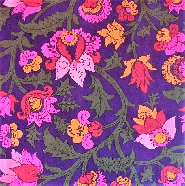 Groovy 70s Pink , Orange and Purple Pandora  VIntage fabric Lampshade Option