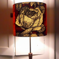 MID CENTURY Atomic 50s Orange Scraffito Rose Vintage Fabric Lampshade option