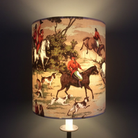 RARE  Countryside Horse Hound GONE TO EARTH Vintage Fabric Lampshade option