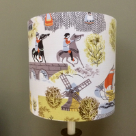 Fun 50s 60s Castle , Ships, Windmill , Horses  Vintage Fabric Lampshade option