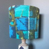 Geometric 50s 60s Blue Green  RETRO Barkcloth VIntage Fabric Lampshade option