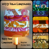 Hippy Happy Hems 60s 70s Recyled Vintage Fabric Lampshade
