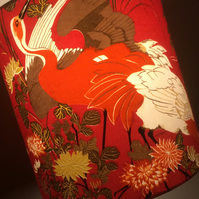 Chinese White Storks a RED Flamenco by Jonelle Vintage Fabric Lampshade option