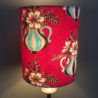 Iconic Mid Century FLower and Vases RED 50s Barkcloth Vintage Fabric Lampshade