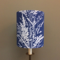 Bold Blue White Fern Seedheads 50s 60s Barkcloth VIntage fabric Lampshade Option