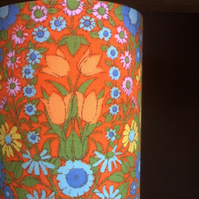 Bright Orange Floral Daisy Chain Pat Albeck  vintage fabric Lampshade option