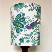 Turquoise Purple Pink BIRD Jonelle Spice Island VIntage fabric Lampshade Option