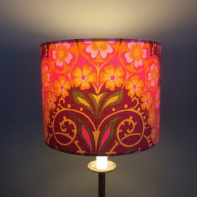 Colourful  Pink Lime Orange Flower Arch 60s 70s Vintage Fabric Lampshade option