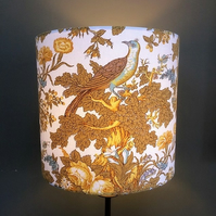 "Yellow and Blue 'Landscape"" BIRD VIntage fabric Lampshade Option"