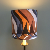 Man Cave MOD Grey Brown Sigma  vintage fabric Lampshade option
