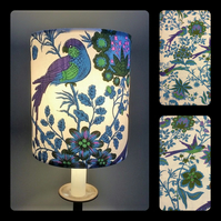 Purple and Blue Jonelle Spice Island BIRD VIntage fabric Lampshade