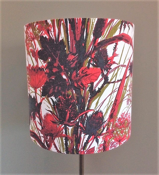 Bontanical Black and Red vintage fabric Lampshade