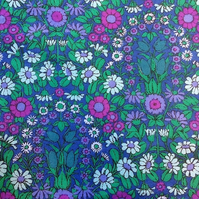 Blue and Purple Haze Daisy Chain Pat Albeck 70s vintage fabric Lampshade option