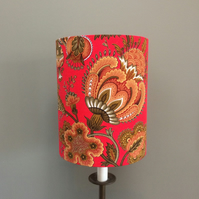BALKIS a Scarlet RED Floral FRENCH Vintage Fabric Lampshade