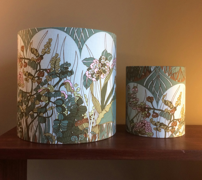 Countryside Bardfield Blue Teal Green Moygashel VIntage Fabric Lampshade option